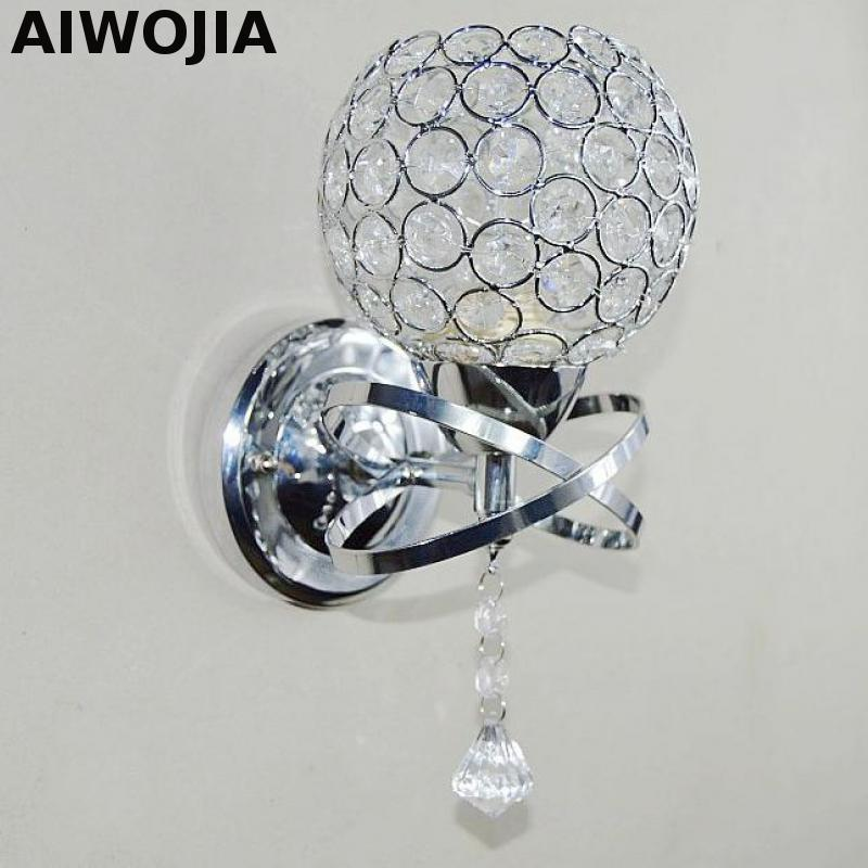 crystal wall light bedside silver gold ball crystal wall lamp 110v 220v crystal wall sconce with pull switch wall lights