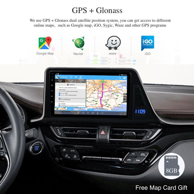 Coche Android 8,0 Radio GPS para Toyota C-HR CHR 2016 de 2017 de Europa 2018/versión Multimedia estéreo 4G WIFI RDS Carplay DSP TPMS