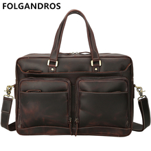 FOLGANDROS Brand Men's Genuine Leather Briefcases Italy Designer Vintage Business Bag Gentlemen Classic Top Quality Briefcase