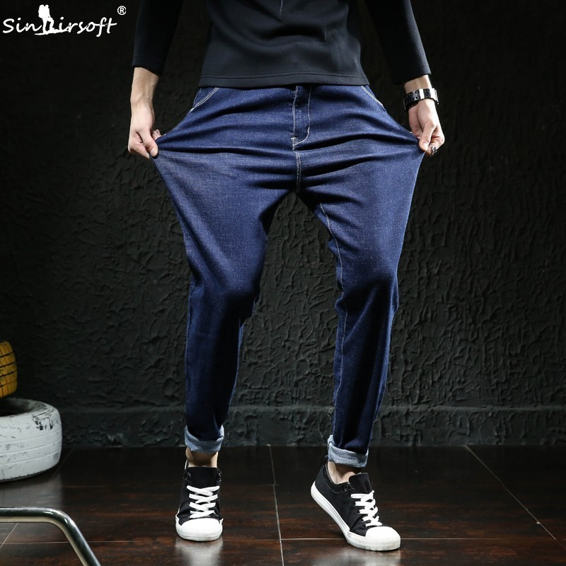 2018 new high quality wearable men's casual harem   jeans   Korean fashion youth small feet knight loose blue large size M-7XL