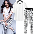 Europe and the large size women summer new Fat mm female hollow sleeve Ink stamp small feet pants plus Empty sleeves blouse suit