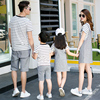 Family Matching Outfits Striped  2017 Fashion 2pcs Sets of Denim Overalls and Jeans Dress 2