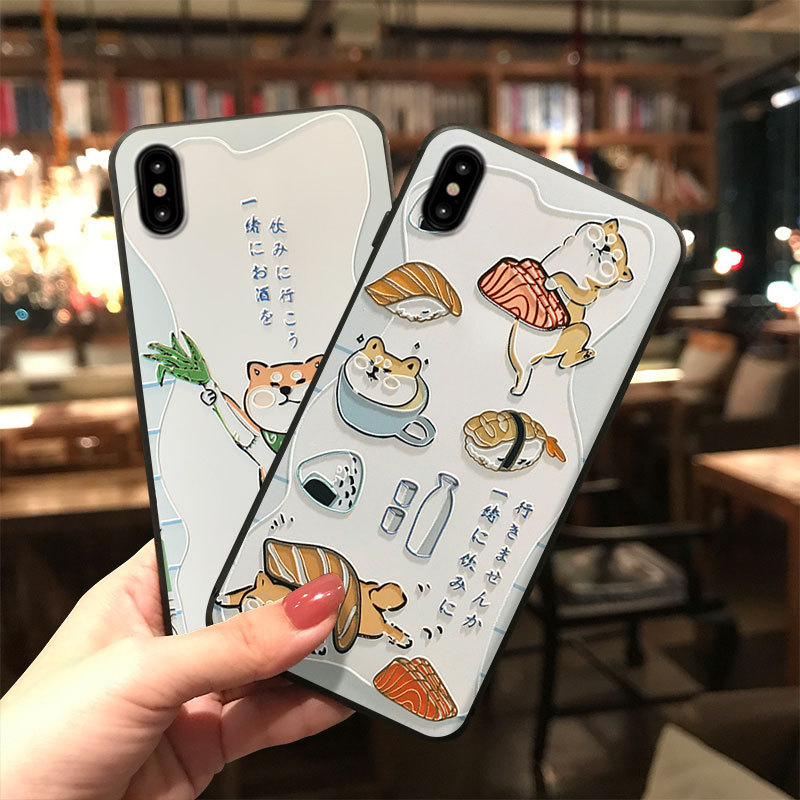 Iphone 11 Pro Case | Japanese Shiba Inu Sushi Phone Case For IPhone 11 Pro MAX XS MAX XR 8 7 6 Plus Capa Soft TPU Back Cover For OPPO R15 R17 Coque