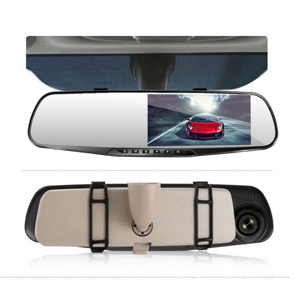 4.3 Polegada espelho retrovisor do carro espelho de vídeo fhd 1080 p carro dvr câmera espelho retrovisor digital gravador de vídeo dupla lente dashcam