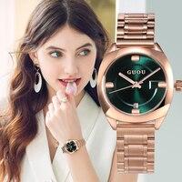 GUOU Watch Women Top Brand Luxury Rose Gold Women's Watches Calendar Fashion Ladies Watch Steel Clock zegarek damski reloj mujer