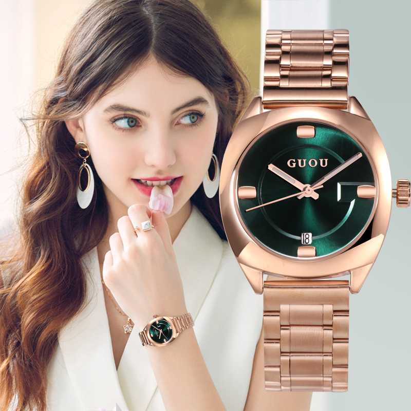 GUOU Watch Women Top Brand Luxury Rose Gold Women's Watches Calendar Fashion Ladies Watch Steel Clock zegarek damski reloj mujer fashion women calendar rose gold quartz watch luxury brand guou six pin retro big dial female multifunction waterproof clock
