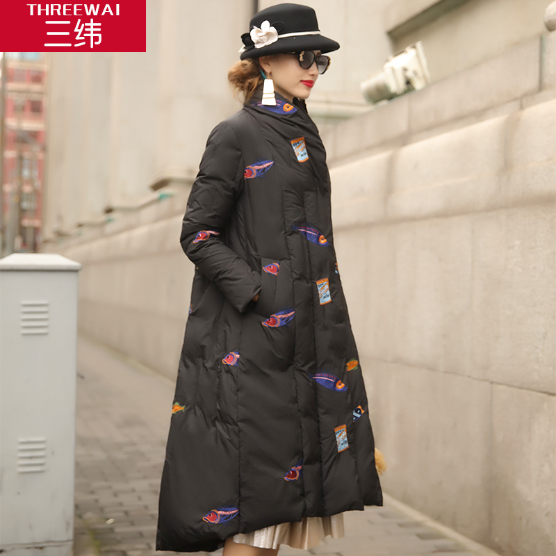 2017 new hot winter Thicker warm woman Down jacket Coat Parkas embroidered Loose long Windproof plus size XL black High cloak