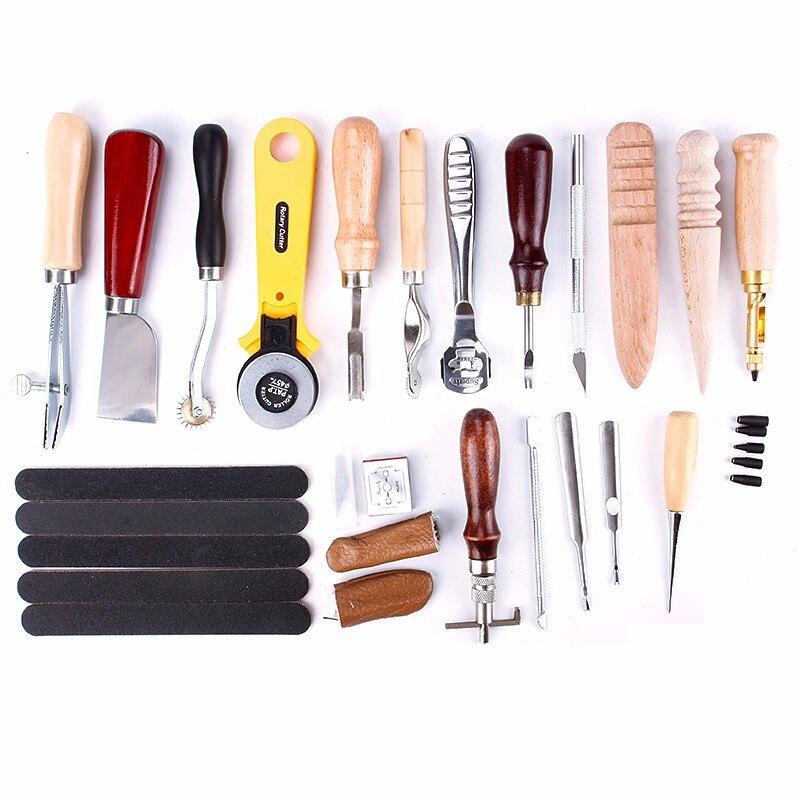 Chaud!!! 20 pièces artisanat bricolage à la main outils poinçon coupe-bordure Trench dispositif ceinture perforateur ensemble en cuir outils à main ensemble pour bricolage maroquinerie