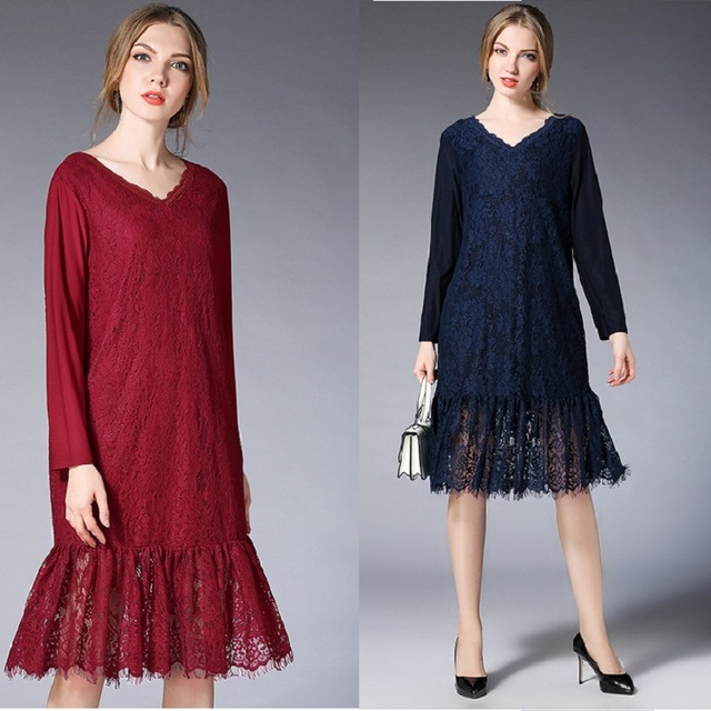 2018 Spring fashion ladies elegant ruffled lace dress V neck mermaid dress  beautiful party dress casual vestido plus size XXXXL 4e14af9e2702