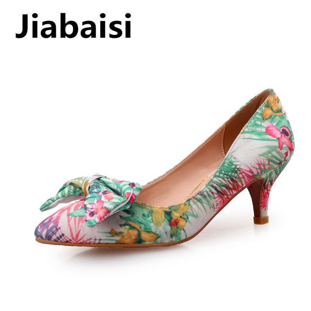 Jiabaisi shoes Women pumps Pointed toe Jacquard Fabric Bowknot pumps 2  inches and 3 inches heel Spring Autumn heel Shoes cd0e38eb0