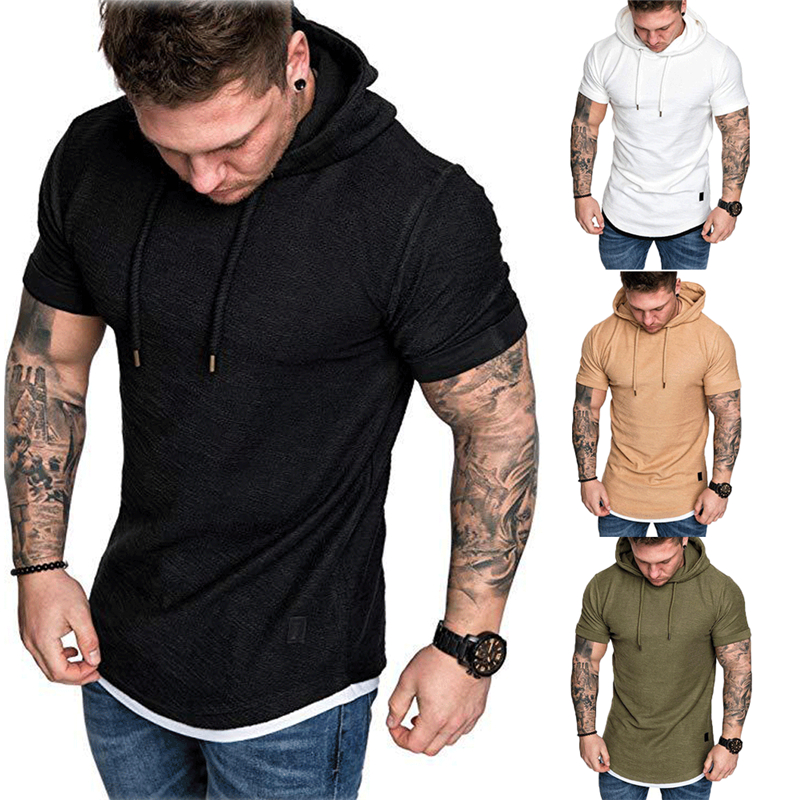 New Fashion Men Slim Fit Solid Hooded Sweatshirts Short Sleeve Casual Cotton Sweatshirts Hoodies Tops Man Male Sports Sweatshirt
