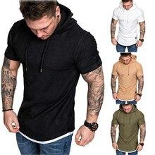 New Fashion Men Slim Fit Solid Hooded Sweatshirts Short Sleeve Casual Cotton Hoodies Tops Man Male Sports Sweatshirt