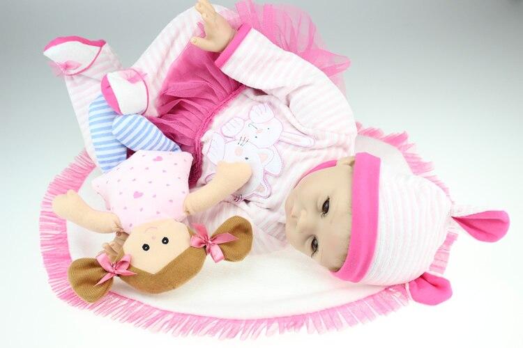 55 CM silicone réel reborn bébés poupées belle fille rose robe doux au toucher bonecas brinquedos cadeau de noël pour enfants jouets - 4