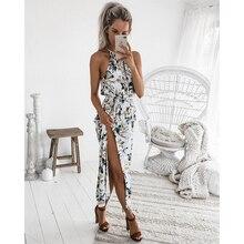 2019 Summer Women Hot Sexy Hanging Neck High Design Slit Waist Dress Flower Print Fashion Beach Party Long Dress 4-style F3
