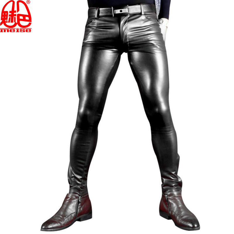 Homens Sexy de Couro Falso Pu Fosco Brilhante Moda Calças Homens Papel X Suave Skinny Calças Lápis Desgaste Gay Gay Calças Zíper Aberto FX130