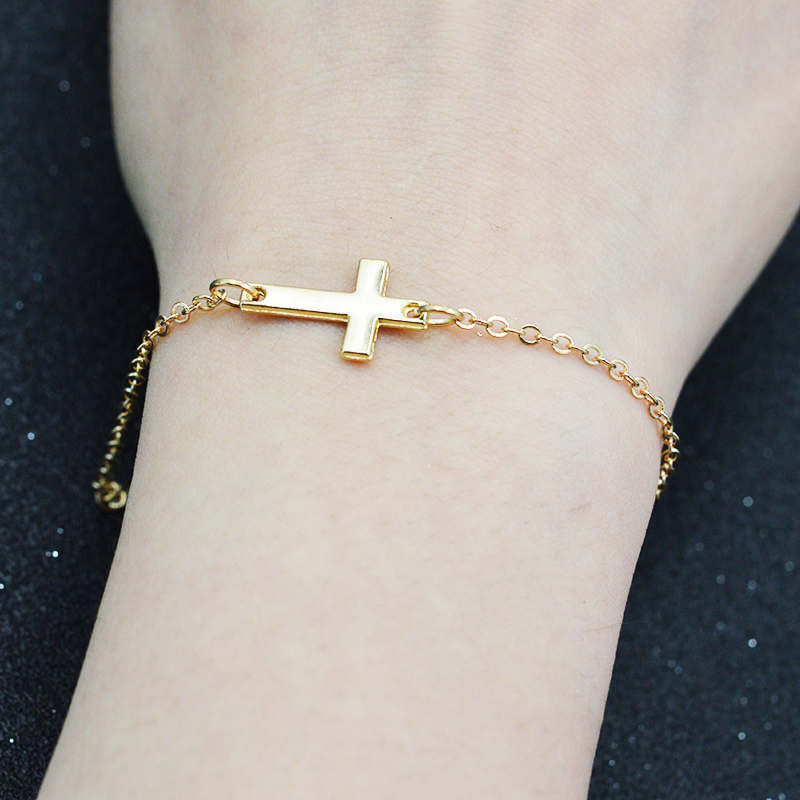 Handmade New Simple Little Tiny Cross Bracelets Bangles Bijoux Pulseras Gold Silver Fashion Women Jewelry In Charm From