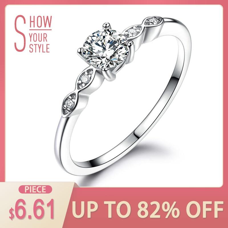 UMCHO Silver 925 Smycken Luxury Bridal Cubic Zirconia Ringar För Kvinnor Solitaire Förlovning Bröllopsfest Märke Fina Smycken