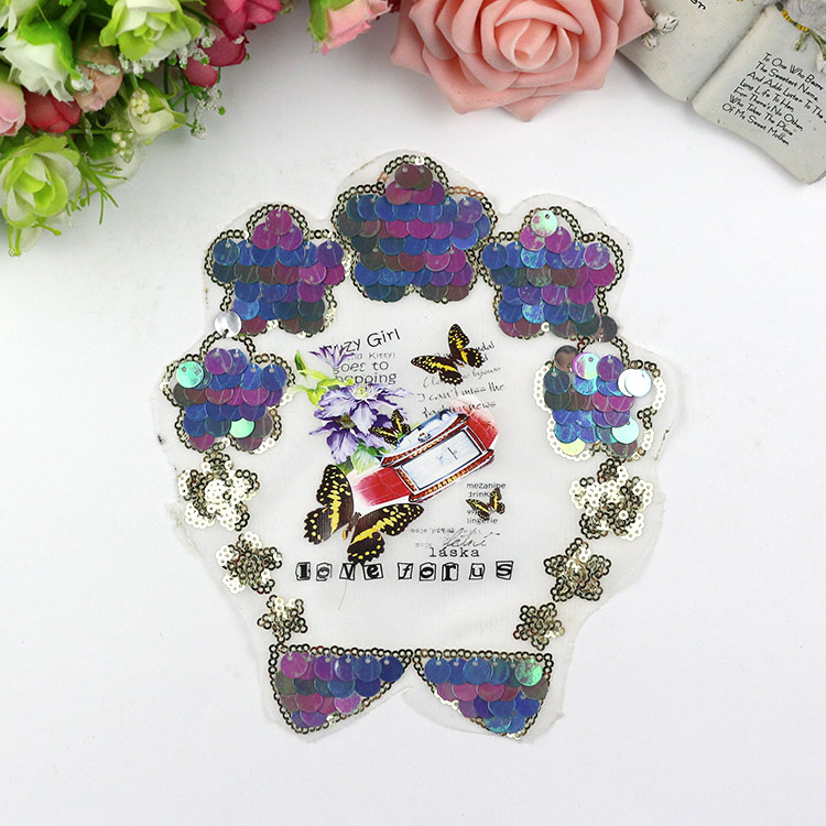 5Pcs Decoration for girl dress Sequin cloth stick jeans decoration handmade DIY garment accessories computer embroidery beads