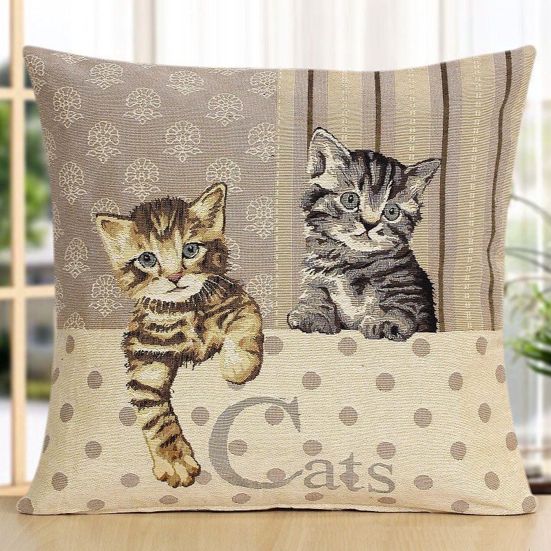 on Big Sale Hot Fashion Quality Animal Decorative Jacquard Pillowcases Novelty Lovely Dog Cat Horse Pattern Throw Pillow Cases