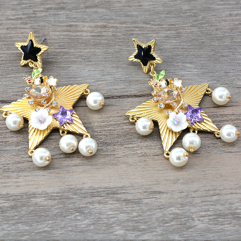Trendy Five-pointed Stars Tassel Earring CLOVER JEWELLERY