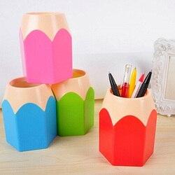 Caneta criativa vaso de lápis pote maquiagem escova titular papelaria mesa arrumado recipiente aizb