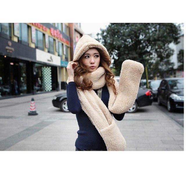f0624775477e6 Novelty Hot sale hat scarf and gloves whole set fluffy cashmere coralon big  size with long scarf winter clothing set for women