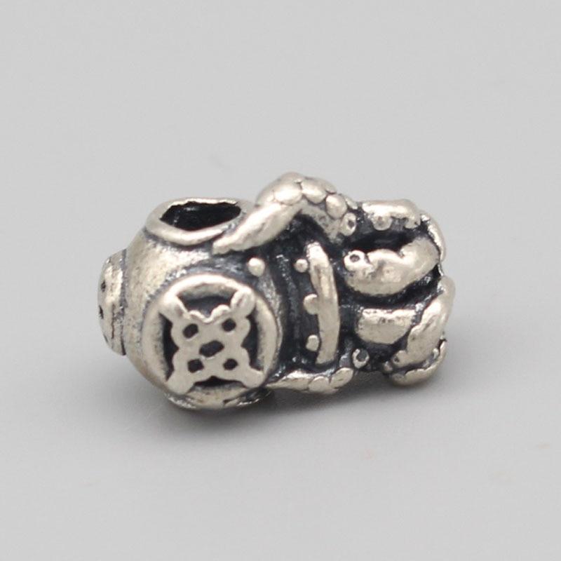 Vintage 925 perles en argent Sterling poulpe pendentif breloques s'adapte à la marque de bricolage européenne 3mm Troll Bracelet et collier bijoux - 3