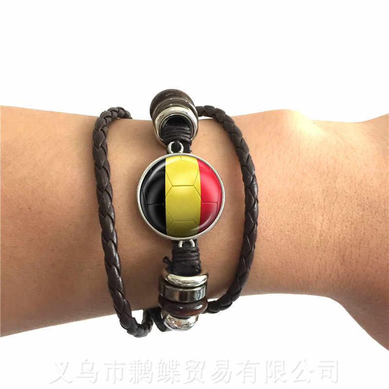 Belgium,Brazil,Mexico,Morocco,Croatia,Korea,Costa Rica Football National Flag Logo 20mm Glass Dome Adjustable Leather Bracelet