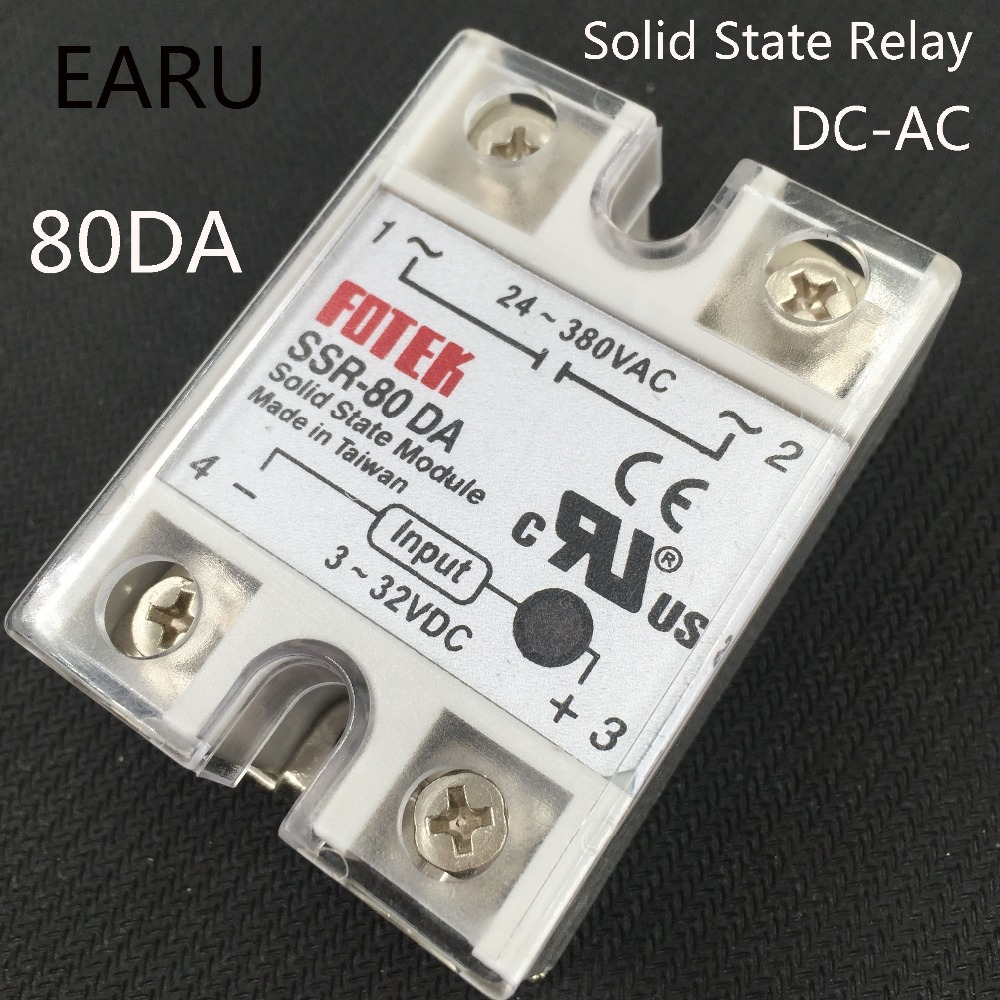 24V-380V 80A 250V SSR-80DA Solid State Relay Module 3-32V DC To AC SSR-80 DA Plastic Cover Case Factory Directly Wholesale Hot normally open single phase solid state relay ssr mgr 1 d48120 120a control dc ac 24 480v