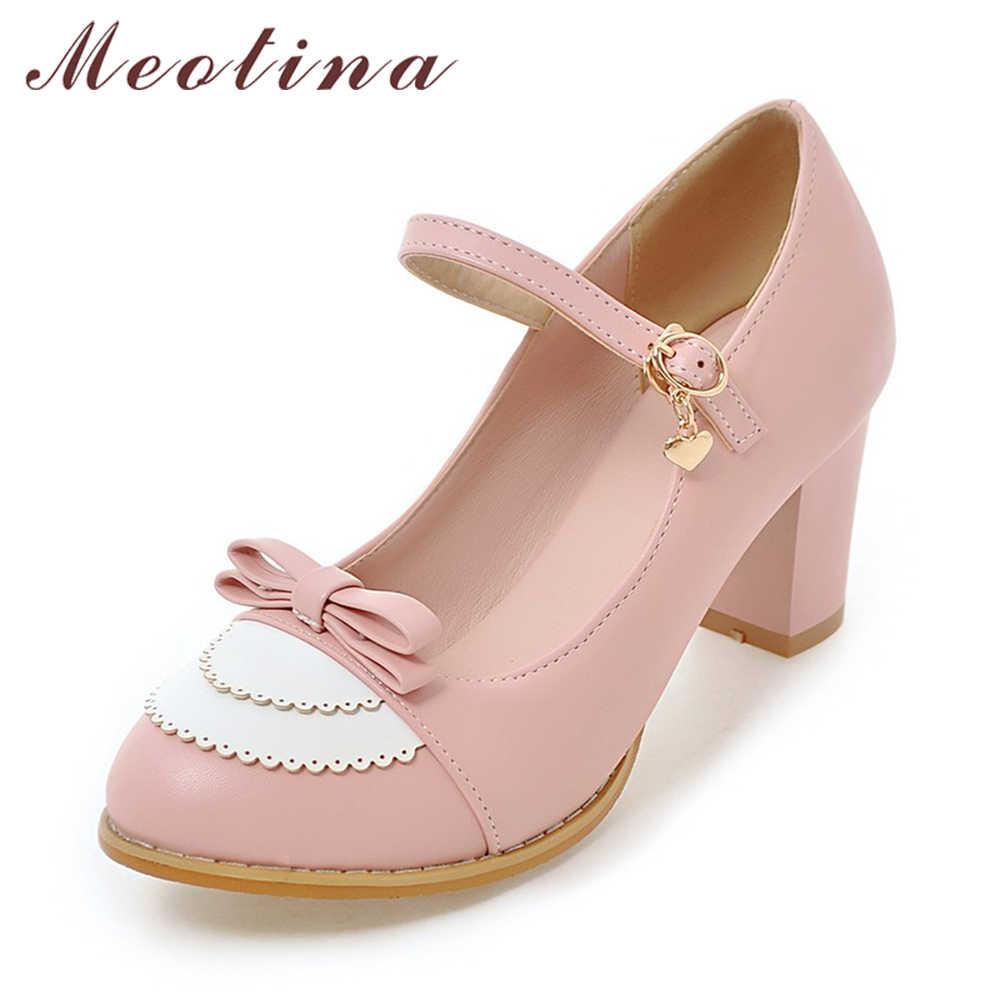 Meotina Mary Jane ayakkabı kadınlar yüksek topuklu büyük boy 9 45 yay ayakkabı kalın yüksek topuk rahat bayan pompaları pembe chaussures femme
