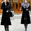 2016 Fur Coat Female Oversize Outerwear Fox Fur Collar Hooded Women Winter Overcoat Thicken Warm Top Mink Fur Jacket Plus Size