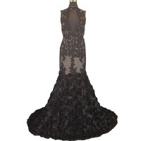 3D Rosette Fabric Mermaid Champagne And Black Halter Top Prom Dress Open Back