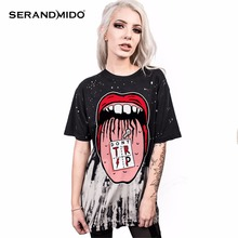 SERANDMIDO 3d Printed T-shirts Summer Punk Rock Women t shirt Large Sizes Woman Clothes 2017 New Fashion Funny Tops SM17T103-14