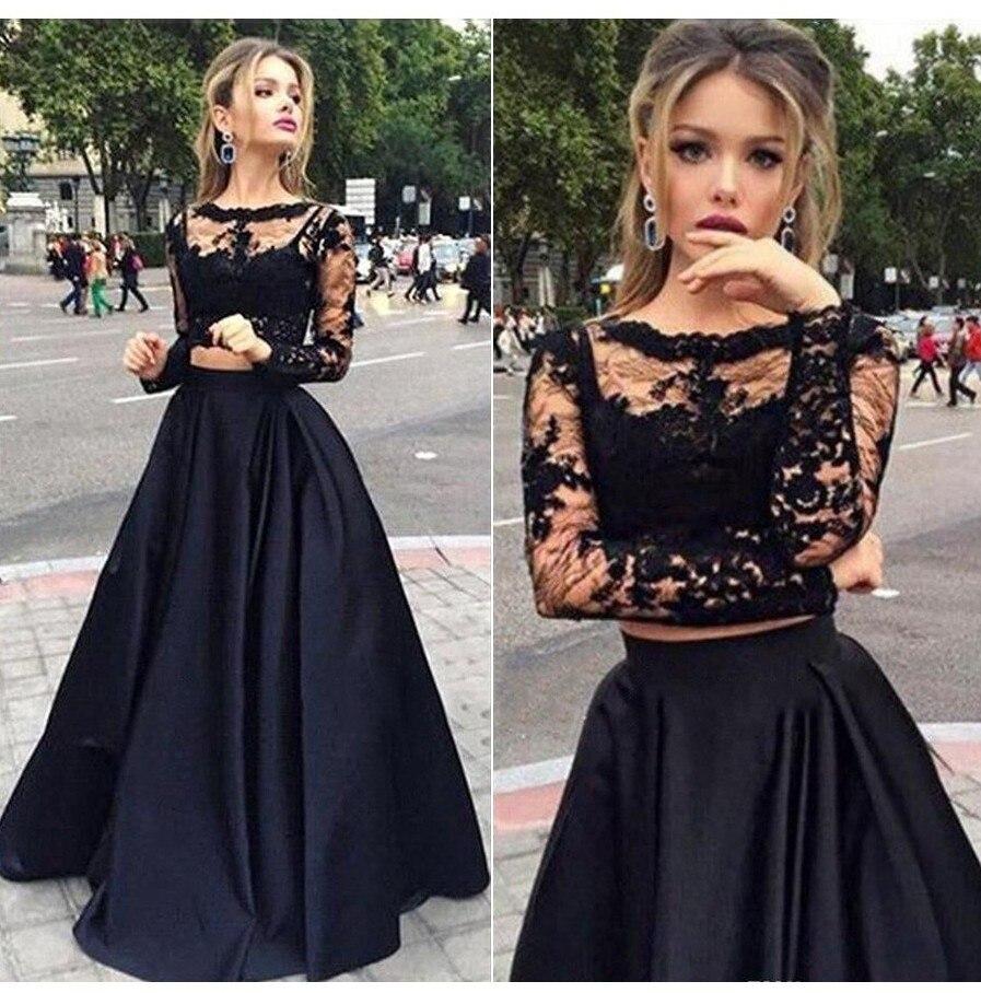 Robe de soiree Long Sleeves Two Piece Black   Prom     Dresses   Sweep Train Formal   Dress   Elegant Vestidos de fiesta de noche