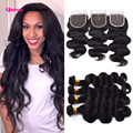 Wet And Wavy Virgin Brazilian Hair 4 Bundles With Lace Closure 5 Bundles Sf Mink Brazilian Hair Weave Bundles With Closure