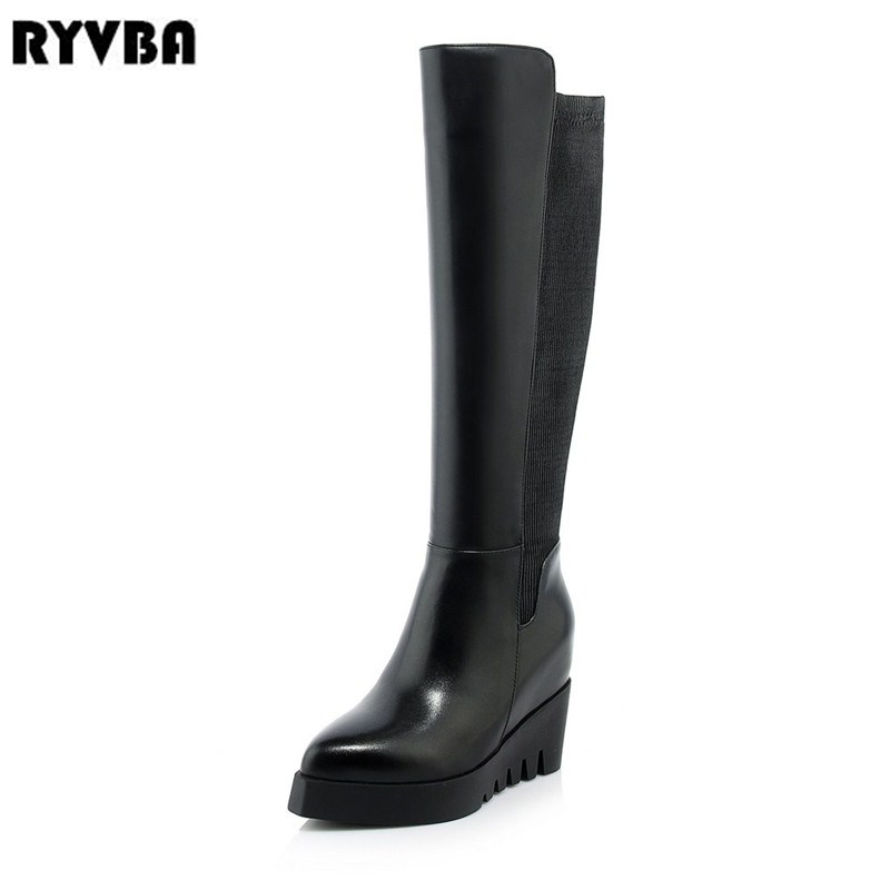 RYVBA women fashion genuine leather knee high boots woman stretch winter thigh high boots womens 2018 black pointed toe shoes ryvba woman knee high snow boots fashion thick plush warm thigh high boots winter boots for women shoes womens female sexy flats