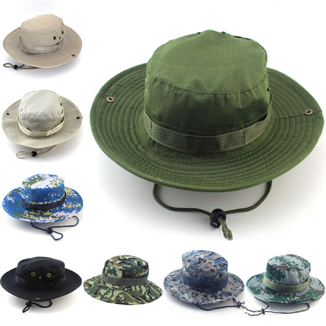 1Pc Men Women Camouflage Bucket Hat With String Fisherman Cap Military  Panama Safari Boonie Sun Hats 21426765db3