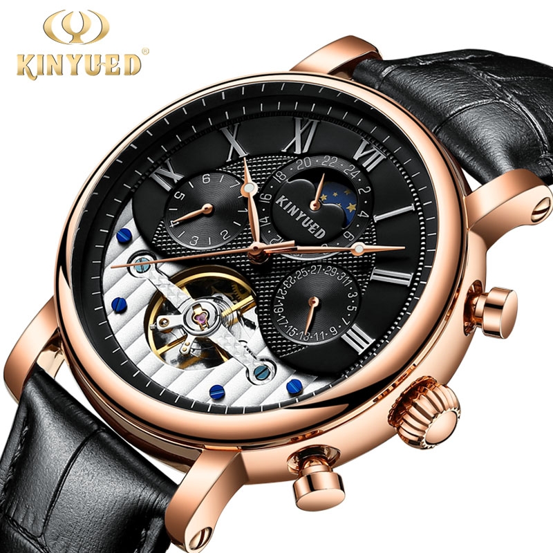 KINYUED Fashion Brand Moon Phase Automatic Watch Men Rose Gold Leather Strap Luxury Skeleton Watches Horloges Mannen Dropship kinyued men s watches automatic self wind fashion brand moon phase mechanical watch men skeleton male horloges