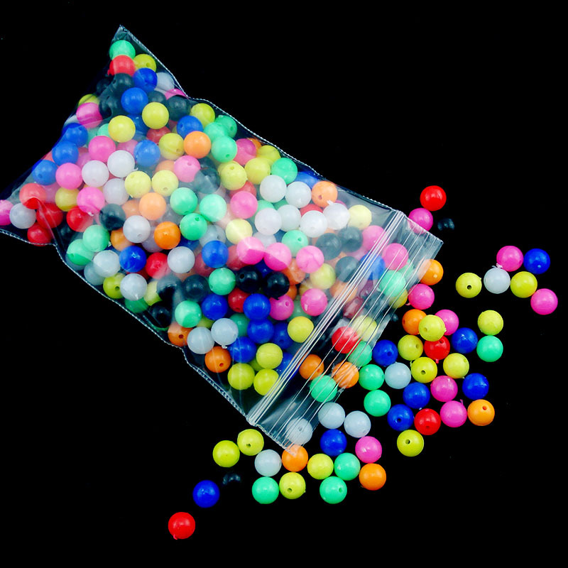 100pcs Mixture Color Circular Fishing bead plastic beads 6mm 8mm DIY Fishing gear Carp Fishing Stop