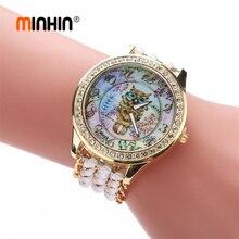 dcdd29bb6 MINHIN أنيقة النساء الساعات الأزياء الذهب اللباس الساعات البومة الكرتون  الأطفال سوار الكوارتز ساعة اليد الأم