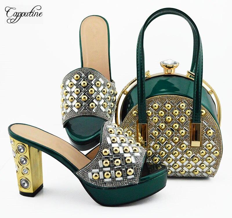 Latest dark green shoes&bag set nice design high heel slip on shoes with handbag set MD007 heel height 10cm