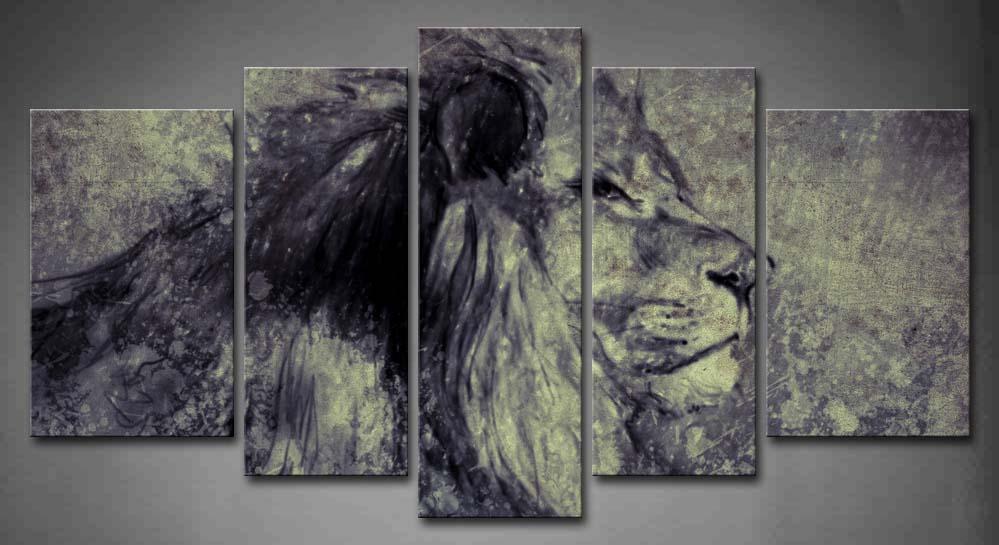 Настенная картина в рамке картина цифровой планшет Лев принт на холсте животное современный плакат с деревянной рамкой для гостиной