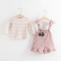 Everweekend Toddler Girls Autumn Outfits Overall Pants and Stripes Tees 2pcs Sets Sweet Children Fashion Autumn Clothing