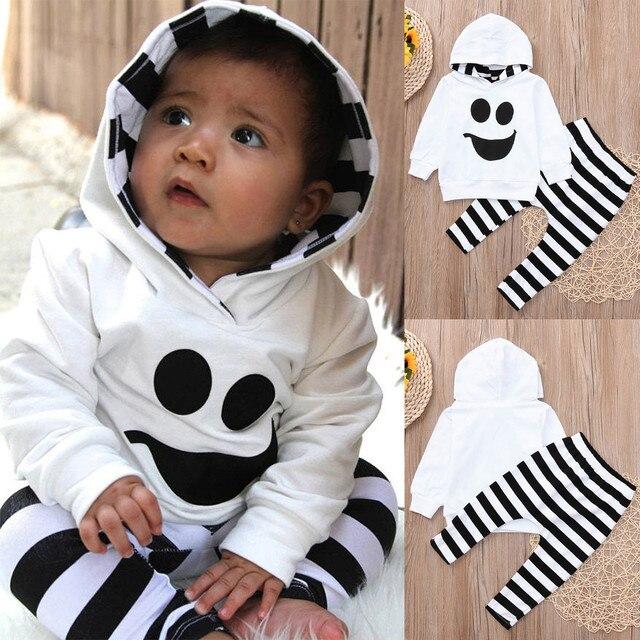 e04286e66 € 4.26 22% de DESCUENTO|MUQGEW bebé niño niños niñas con capucha Tops  Jersey pantalones a rayas Halloween trajes conjunto forzosamente bebe ...
