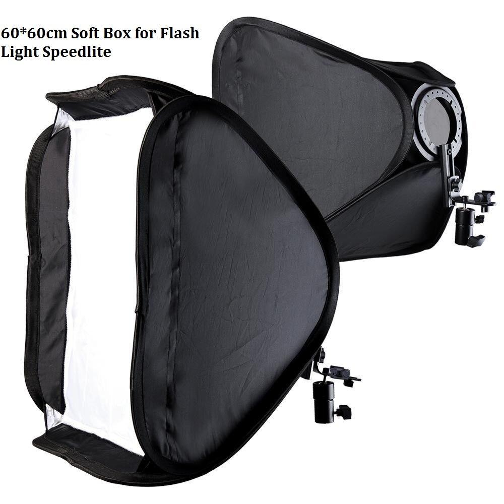 Lightdow 60x60cm 24 Inch Portable Hotshoe Soft Box Kit Softbox With L Shape Bracket for Flash
