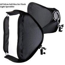 """Lightdow 60×60 cm 24 """"Дюймовый Портативный Горячий Башмак Софтбокс Kit Softbox С L-образный Кронштейн для вспышка Света Вспышки Speedlite Фотостудия"""