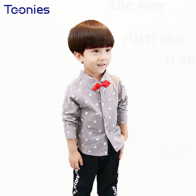 67a3232bf 2017 Baby Boys Long Sleeve Shirt Kids Formal Clothing Printed Party Shirts  Dresses Wear Bow Tie