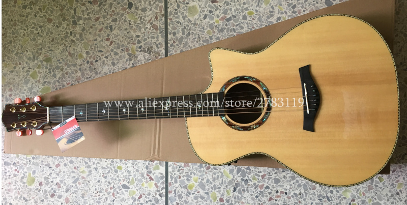 Professional Cutaway 41 Acoustic Guitars,Solid Spruce Top/Ebony Body guitarra eletrica With LCD Pickup +Hard case кардиган acoola acoola ac008ebnmf36