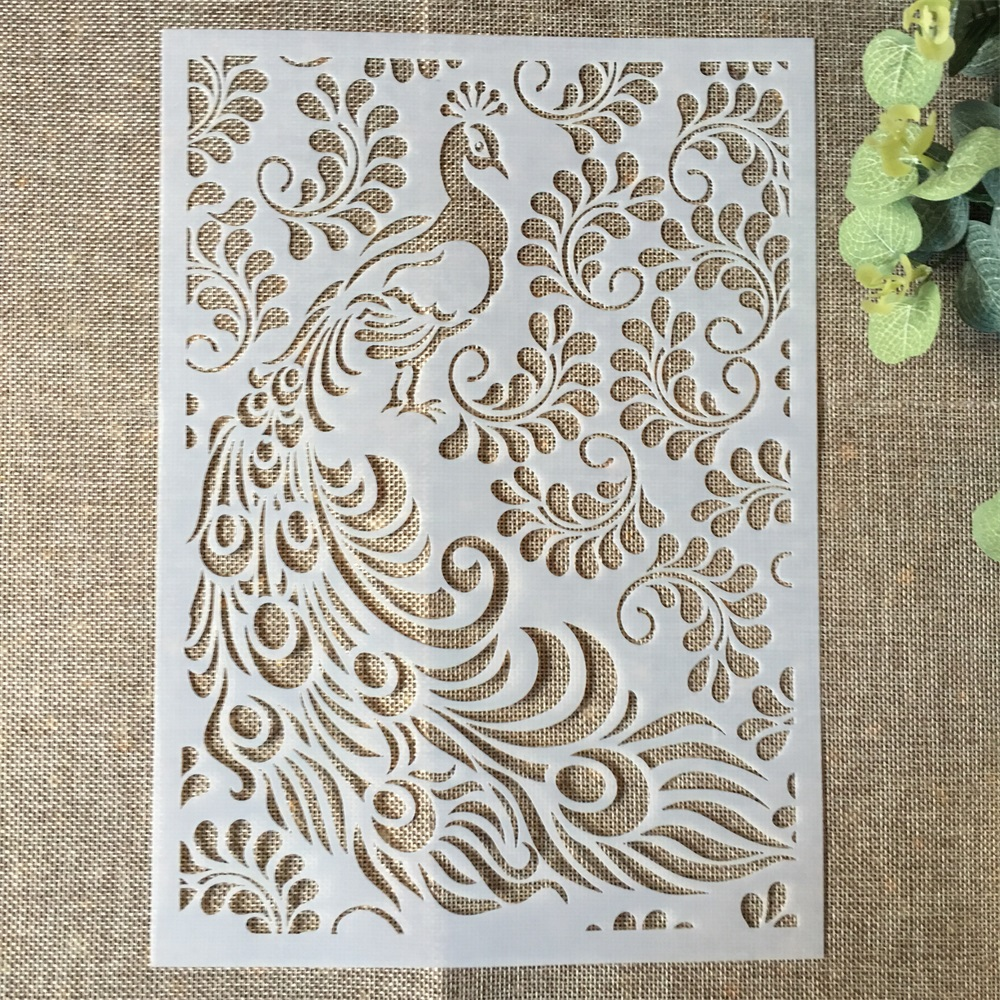 29*21cm Peacock Leaves DIY Layering Stencils Wall Painting Scrapbook Coloring Embossing Album Decorative Paper Card Template