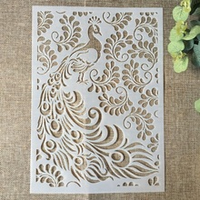 Buy 29*21cm Peacock Leaves DIY Layering Stencils Wall Painting Scrapbook Coloring Embossing Album Decorative Paper Card Template directly from merchant!